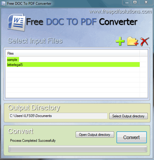 Free DOC To PDF Converter- interface