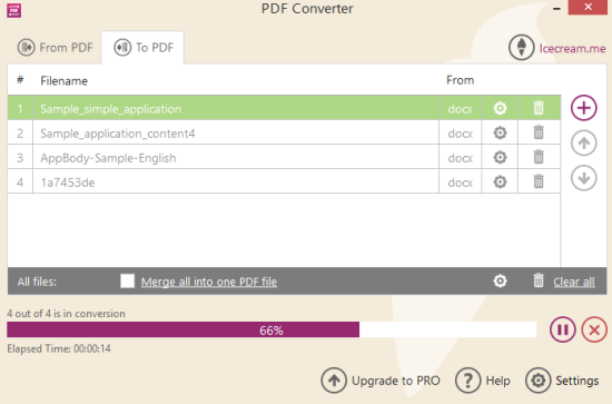 Icecream PDF Converter- interface