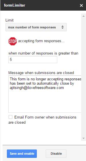 Set Responses Limit