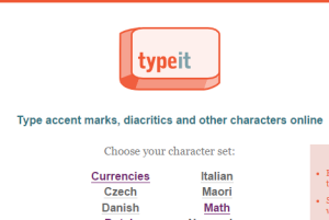 TypeIt- learn how to type accent marks, symbols, and other special characters