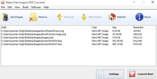 Weeny Free Image to PDF Converter- interface
