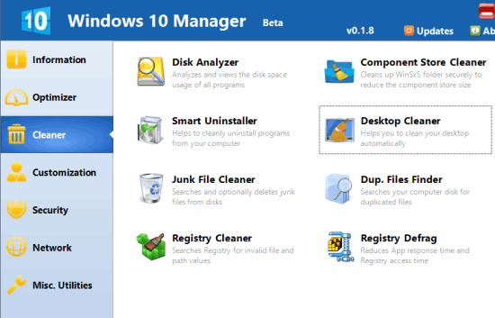 Windows 10 Manager with Optimizer, Cleaner, Security Tools