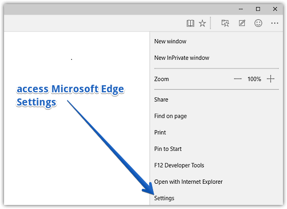 access ms edge settings