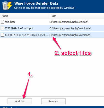 add files on its interface and select files for deleting
