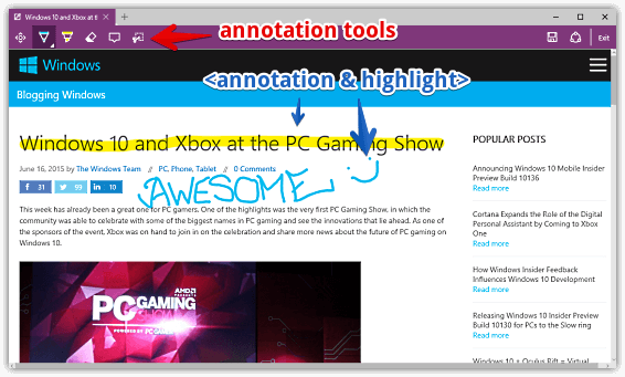 annotation and highlight in ms edge