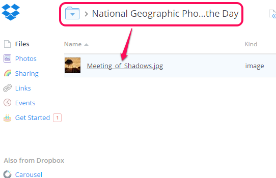 automatically download National Geography Photo of the Day to Dropbox
