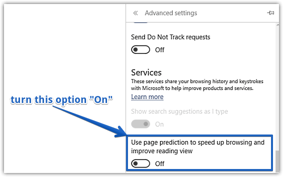enable page prediction in ms edge