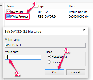 execute WriteProtect data and set value data to 1