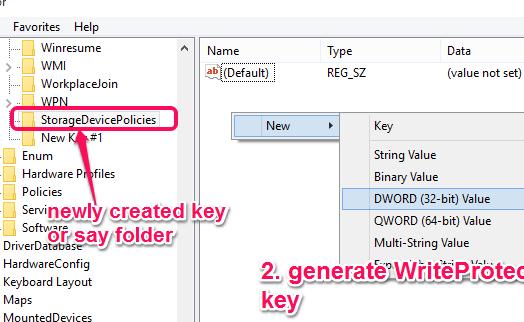 generate WriteProtect key under StorageDevicePolicies folder