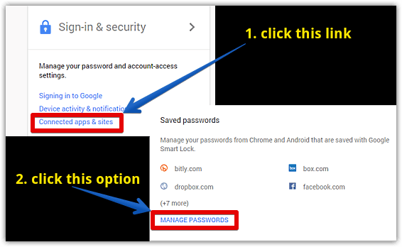 google chrome access passwords section