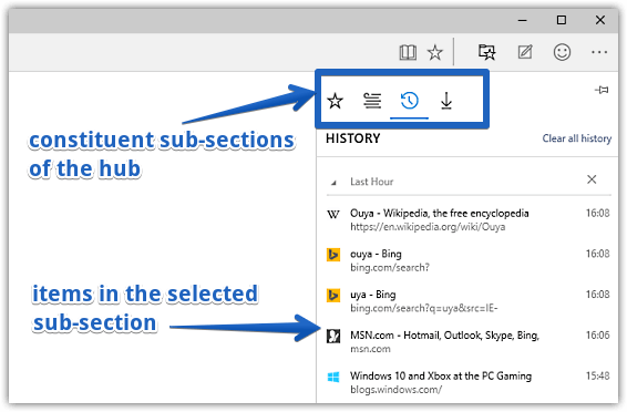 hub options in ms edge