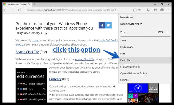 pin websites to start menu in ms edge