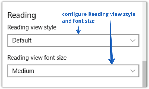 reading view settings
