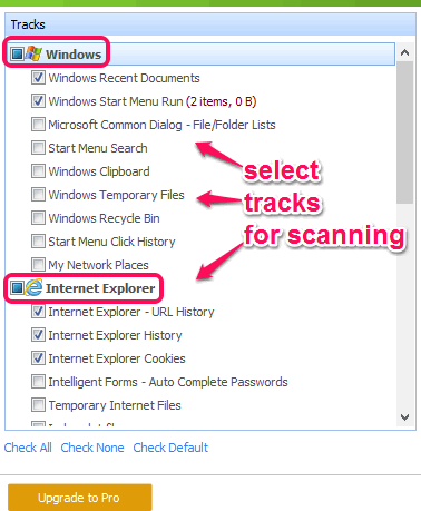 select tracks for scanning