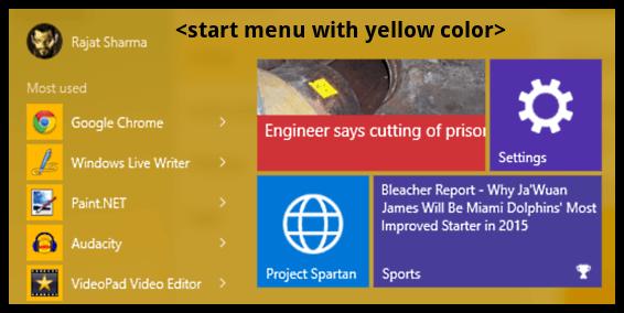 start menu color