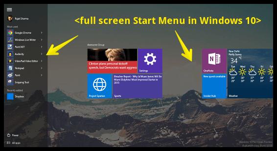 start menu full screen