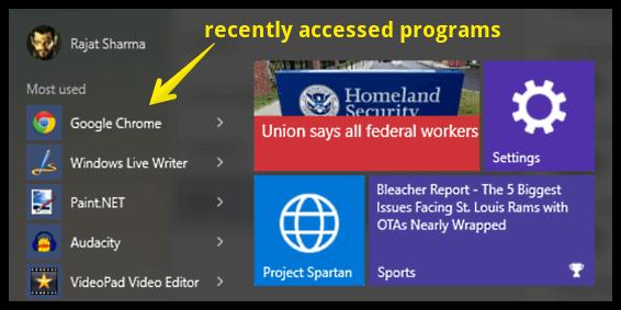 start menu recently accessed programs