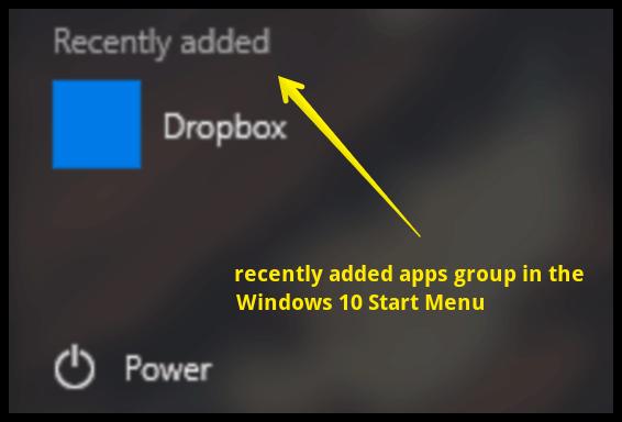 start menu recently added apps