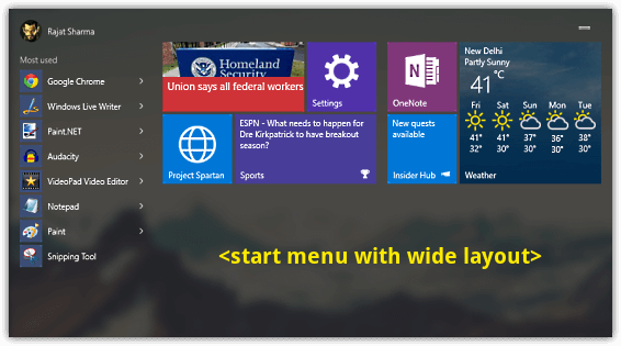 start menu resize