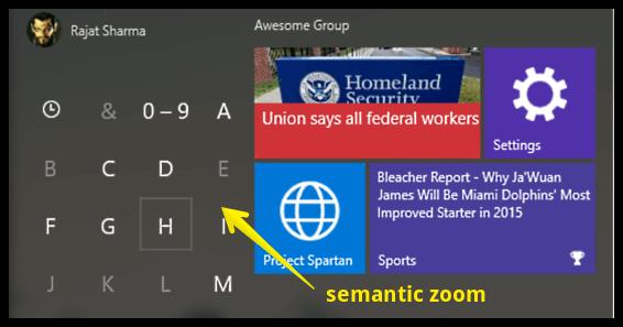 start menu semantic zoom