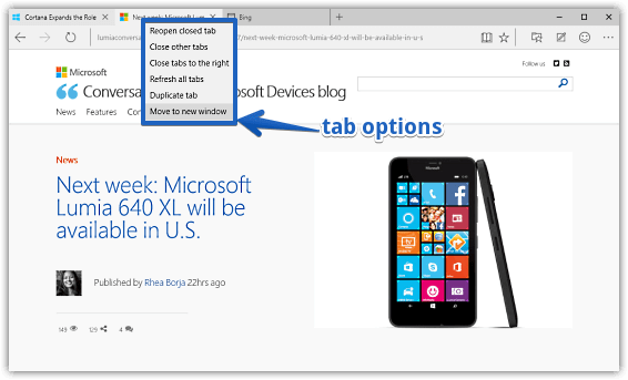 tab options in ms edge