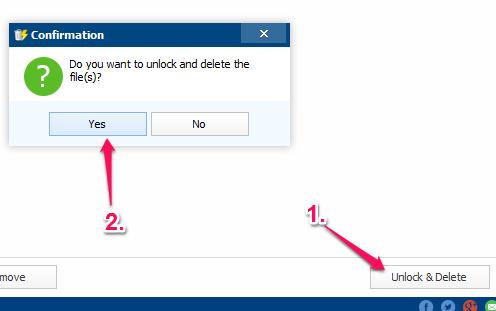 use Unlock & Delete button to remove selected files