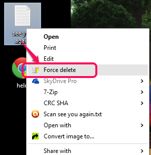 use right click context menu option