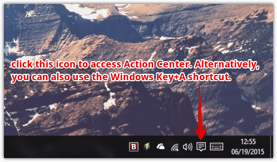 windows 10 access action center
