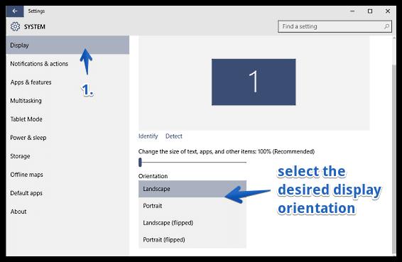 windows 10 change screen orientation