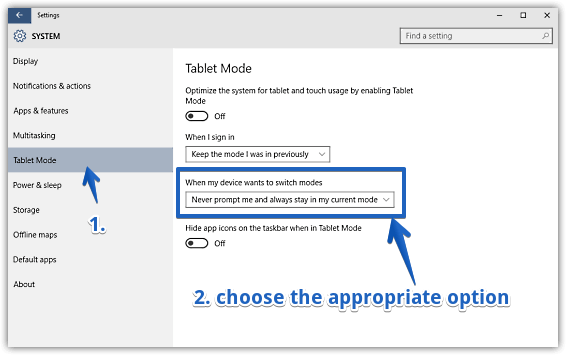 windows 10 disable automatic switching to tablet mode