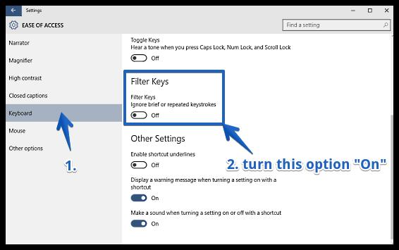 windows 10 enable filter keys