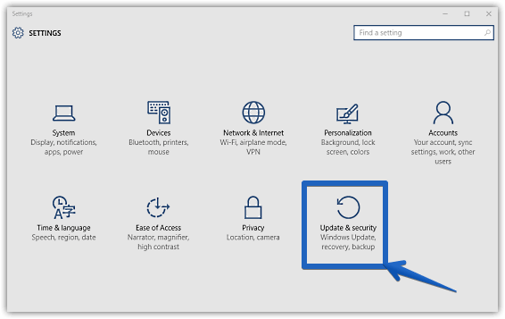 windows 10 modern settings_update and security