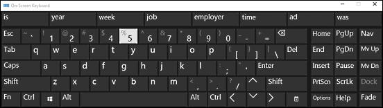 windows 10 on screen keyboard