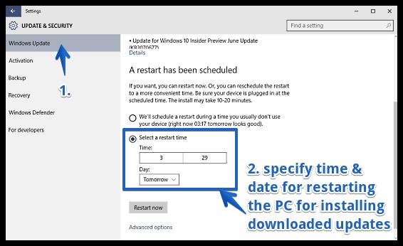 windows 10 set custom time for installation of updates