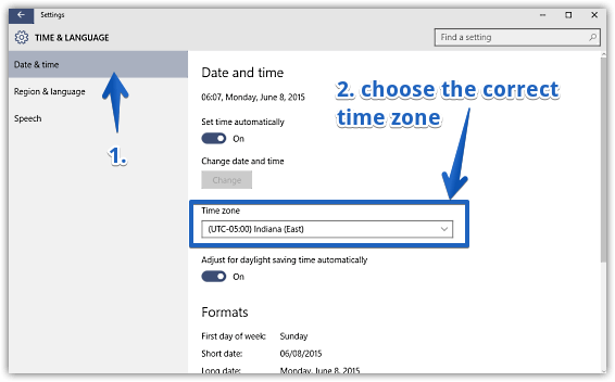windows 10 set time zone