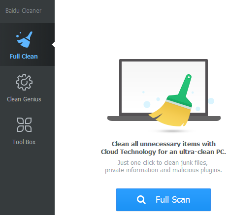 Baidu Cleaner Interface