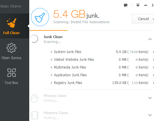 Baidu Cleaner- scan and remove junk items from PC