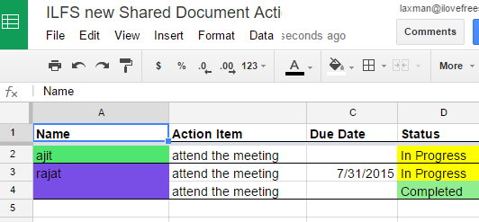 Export tasks as spreadsheet to see the progress