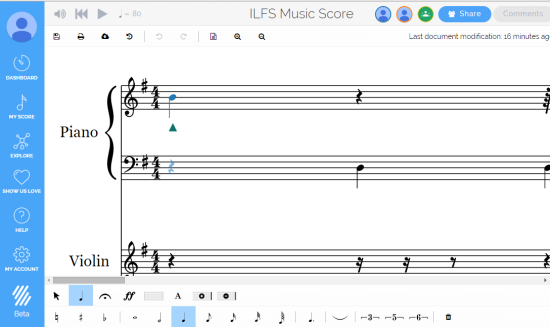 Flat- free online sheet music maker with real-time collaboration