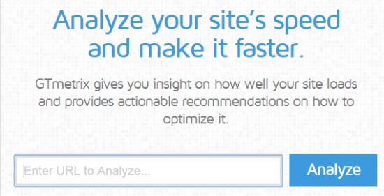 GTmetrix Homepage