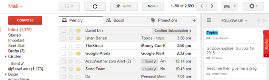 Gmail UI with Extra Sidebar