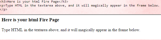 HTML Fire Interface
