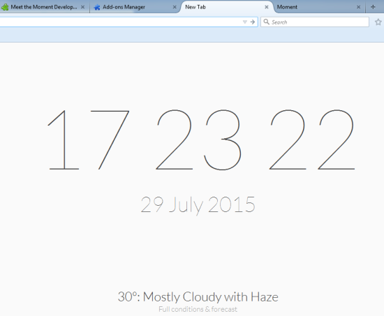 Moment- free Firefox plugin to customize new tab
