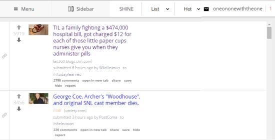 SHINE for Reddit UI