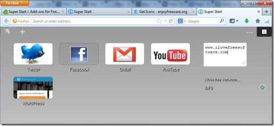Super Start- free Firefox add-on to customize new tab