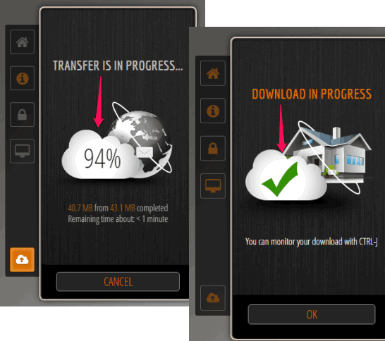 Transfer and download process to share large files