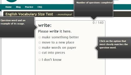 Online vocabulary test