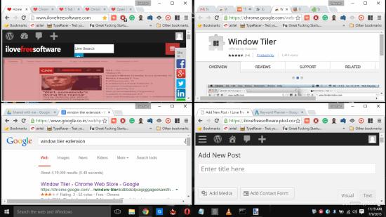 Window Tiler- organize multiple Chrome windows using preset layouts
