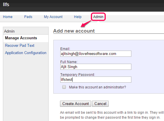 access Admin section and create accounts for collaborators