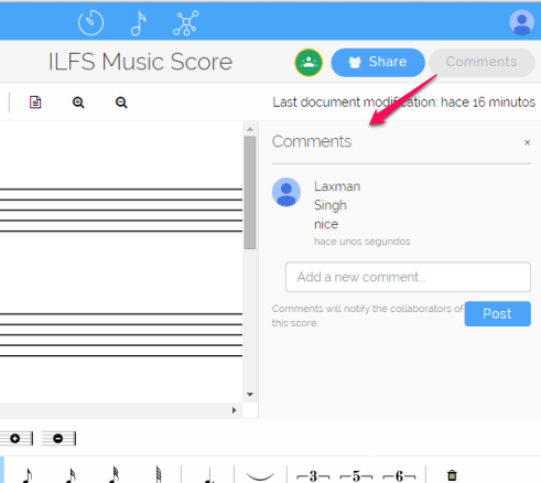 add comments to music score